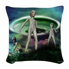 Alien invasion Woven Throw Pillow