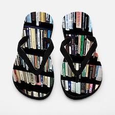Books on bookshelves Flip Flops