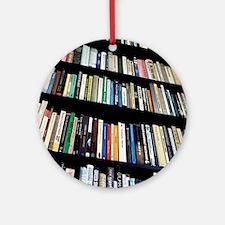 Books on bookshelves Round Ornament