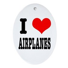 I Heart (Love) Airplanes Oval Ornament