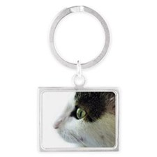 Green Eyed White Tabby Cat Prof Landscape Keychain