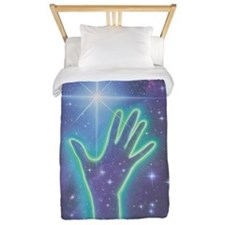 Abstract artwork of hand reaching to th Twin Duvet