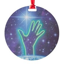 Abstract artwork of hand reaching t Ornament