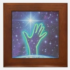Abstract artwork of hand reaching to t Framed Tile