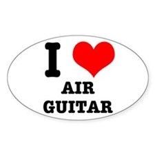 i Heart (Love) Air Guitar Oval Decal