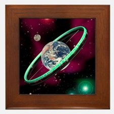Artwork of a torus-shaped space statio Framed Tile