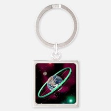Artwork of a torus-shaped space st Square Keychain