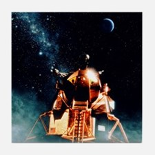 Artwork of Apollo 11 lunar module on  Tile Coaster