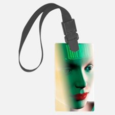 Barcode on a woman's head Luggage Tag