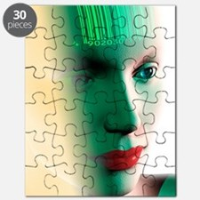 Barcode on a woman's head Puzzle