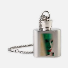 Barcode on a woman's head Flask Necklace