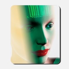 Barcode on a woman's head Mousepad