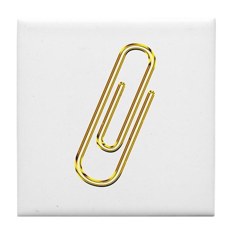 Gold Paper Clip Tile Coaster