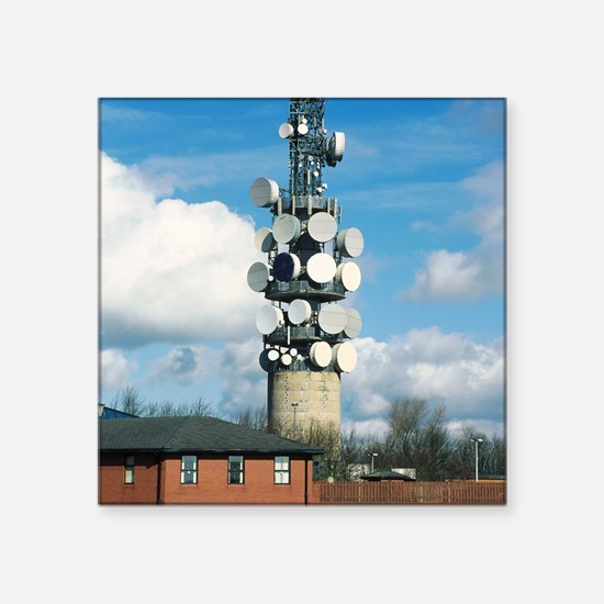 """Communications tower Square Sticker 3"""" x 3"""""""