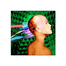 "Computer artwork of wires i Square Sticker 3"" x 3"""