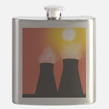 Cooling towers at sunset, artwork Flask