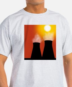 Cooling towers at sunset, artwork T-Shirt
