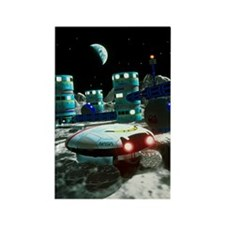 Computer artwork of a future luna Rectangle Magnet