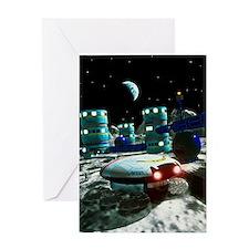 Computer artwork of a future lunar b Greeting Card