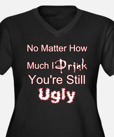 Twisted Imp Drunk and Ugly Women's Plus Size V-Nec