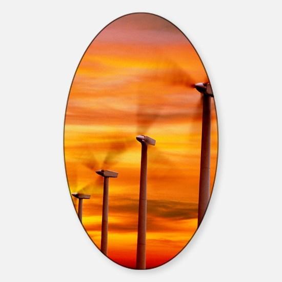 Computer graphic of wind farm at su Sticker (Oval)