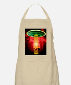 Computer artwork of woman being abducted by  Apron