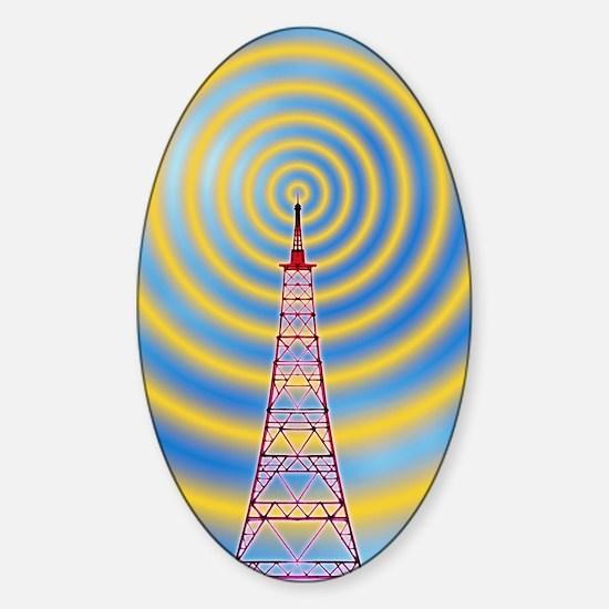 Computer image of radio transmissio Sticker (Oval)
