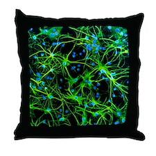 Immunofluorescent LM of astrocyte bra Throw Pillow