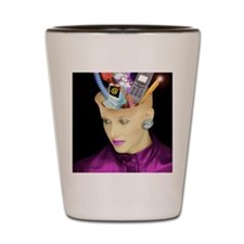 Concept of a woman's head and communica Shot Glass