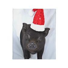 Micro pig with Santa hat Throw Blanket