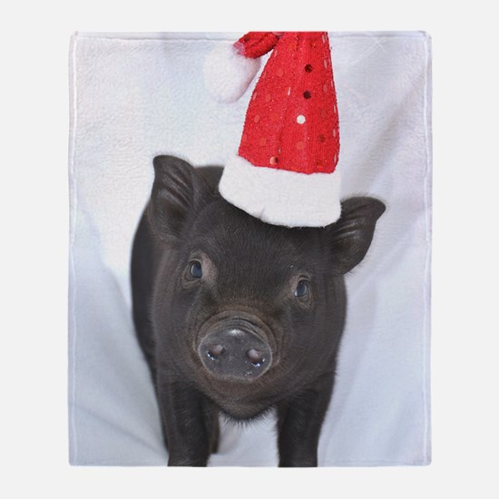 Micro pig with Santa hat Throw Blanket