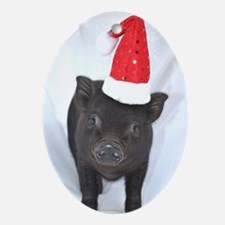 Micro pig with Santa hat Oval Ornament