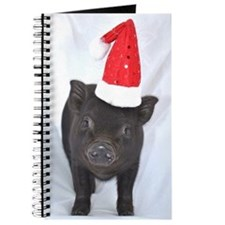 Micro pig with Santa hat Journal