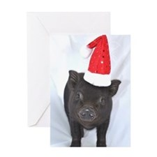 Micro pig with Santa hat Greeting Card