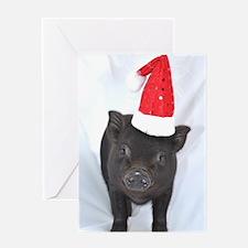 Micro pig with Santa hat Greeting Card