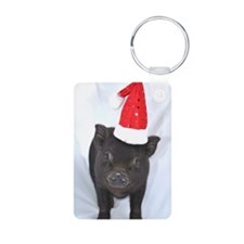 Micro pig with Santa hat Keychains