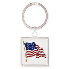 Waving US flag w pole Square Keychain