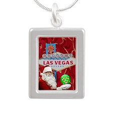 Las Vegas Santa with orn Silver Portrait Necklace