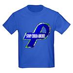 Child Abuse Awareness Ribbon Kids Dark T-Shirt