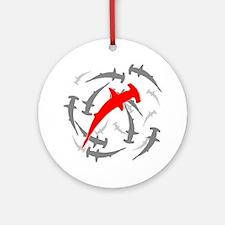 Circling Hammerhead Sharks Round Ornament