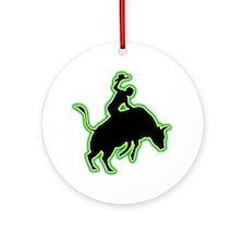 Bull-Riding-AC Round Ornament