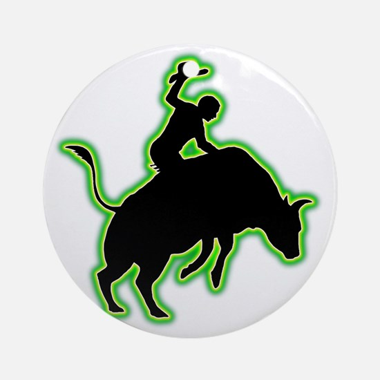 Bull-Riding-AC Round Ornament