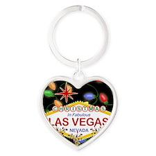 Las Vegas Christmas Lights Heart Keychain