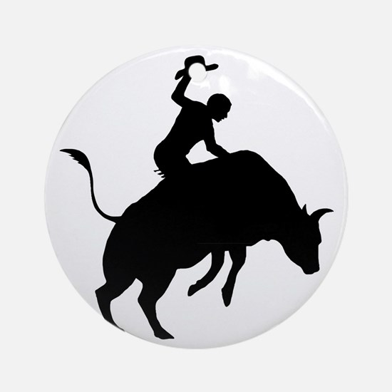 Bull-Riding-AA Round Ornament