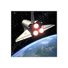 """Earth-orbiting Space Shuttl Square Sticker 3"""" x 3"""""""