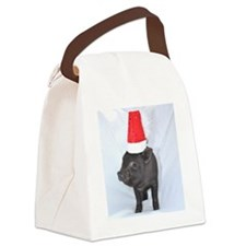 Santa micro pig square design Canvas Lunch Bag