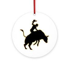 Bull-Riding-AD Round Ornament