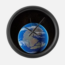 Earth at time of Pangea Large Wall Clock