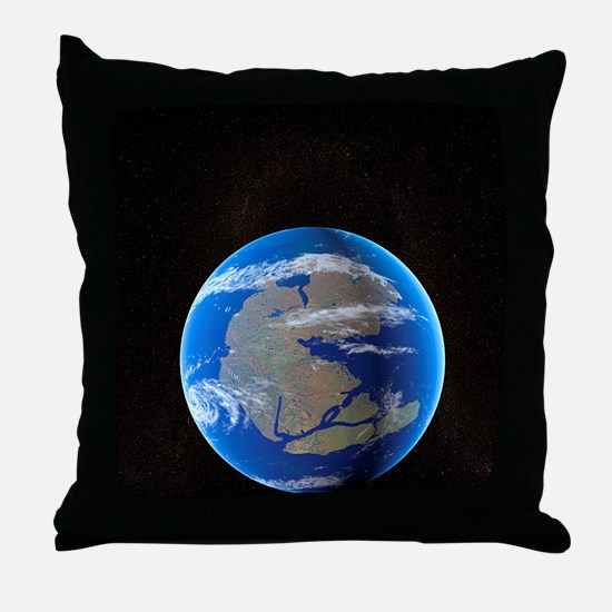 Earth at time of Pangea Throw Pillow