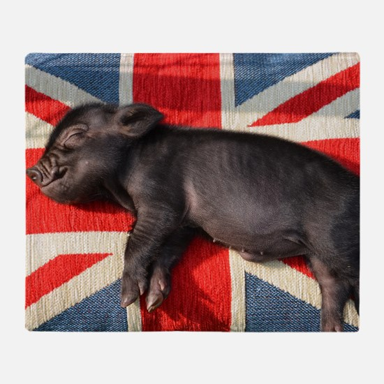 Micro pig chilling Throw Blanket